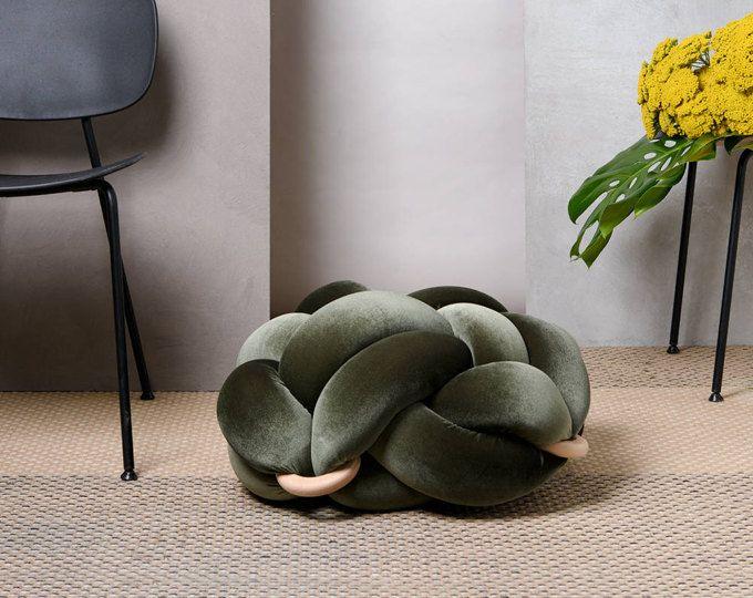 Medium knot Floor Cushion in Velvet Olive Green, Knot Floor Pillow ...
