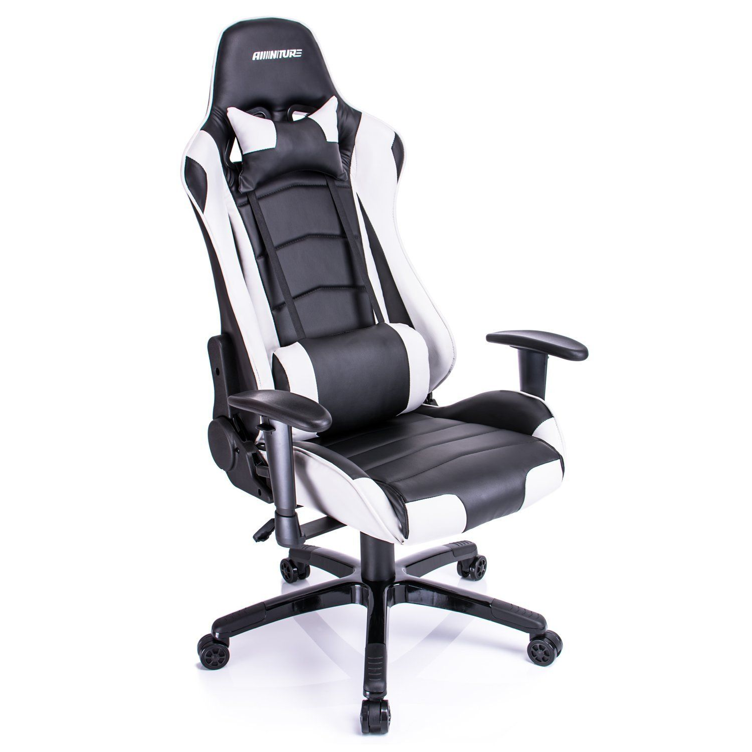 gaming chair amazon black outdoor rocking chairs canada com aminitrue high back racing style adjustable white kitchen dining