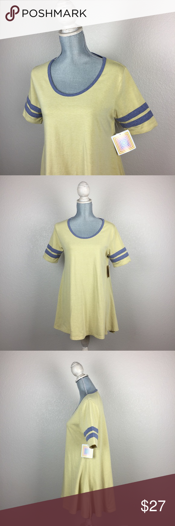 NWT LuLaRoe Perfect T in yellow with grey details New with Tags LuLaRoe Perfect T in yellow with grey neckline and detail on arm. very loose fitting. stretchy fabric. Fabric: cotton, polyester, spandex. No holes, stains, rips, tears, or pilling noted. Reasonable offers accepted. No trades please :) LuLaRoe Tops Tunics