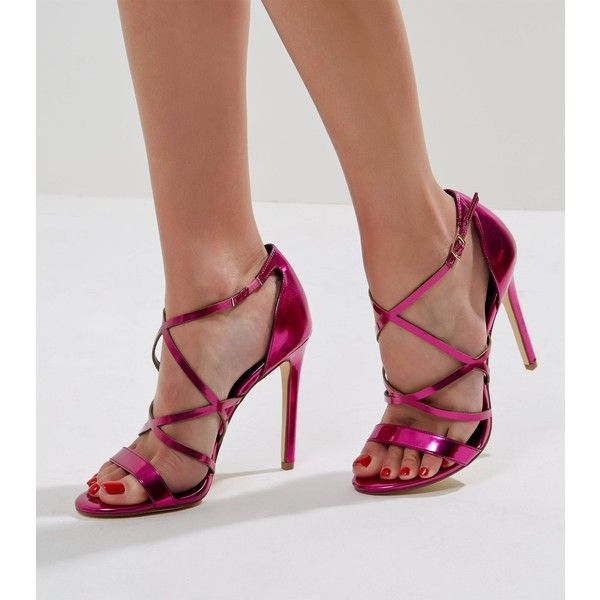 b0d49413ce0 New Look Pink Metallic Multi Strap Heeled Sandals (£30) ❤ liked on ...