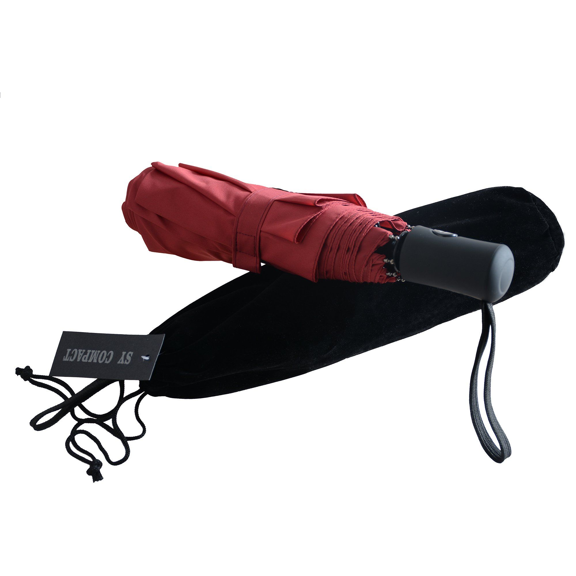 Sy Compact Travel Umbrella Windproof For Women Red Umbrellas