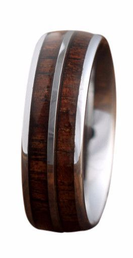 6mm Tungsten Carbide Ring with a Koa Wood Inlay Tungsten carbide