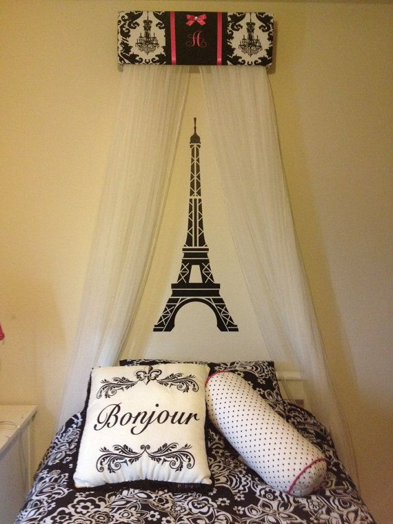 Bed Crown Canopy Personalized Curtains SALE Upholstered Princess Damask  Chandelier FREE Embroidery. Girls Paris BedroomParisian ...