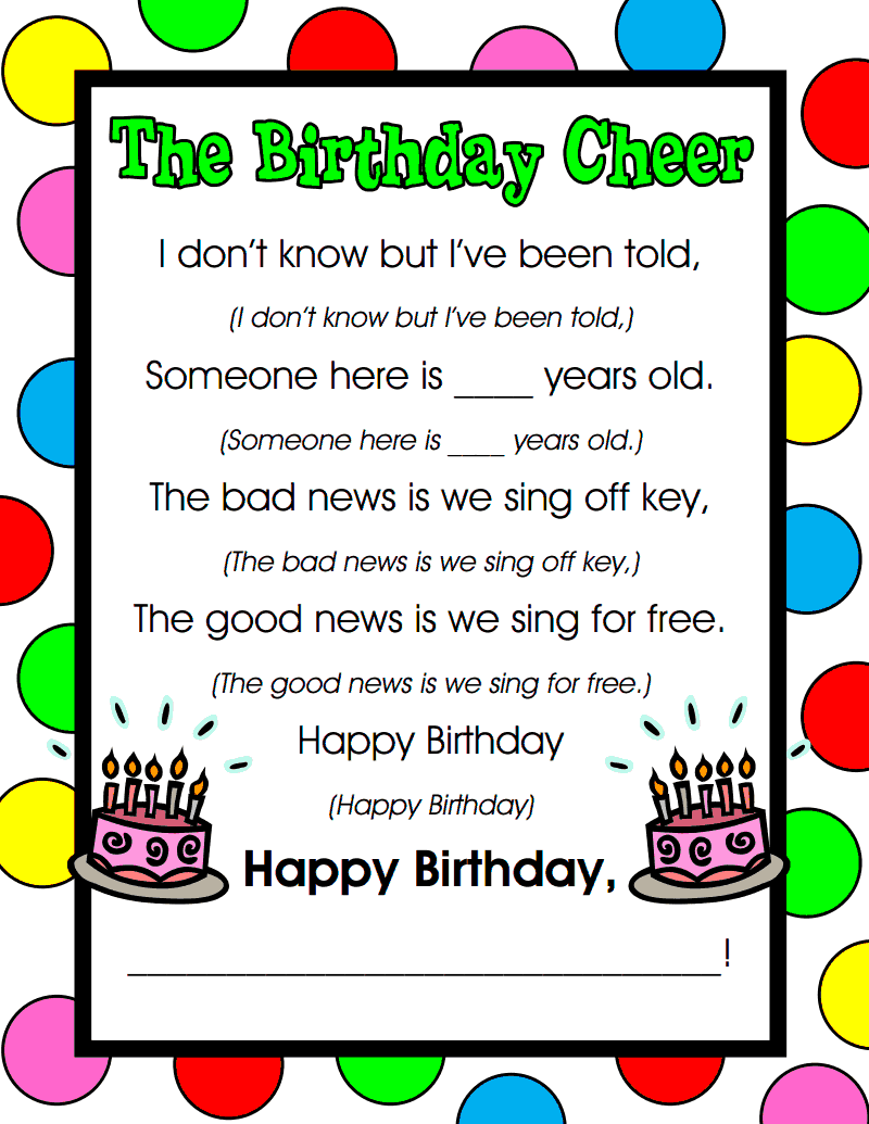 Birthday Cheer Pdf Classroom Birthday School Classroom Preschool Songs