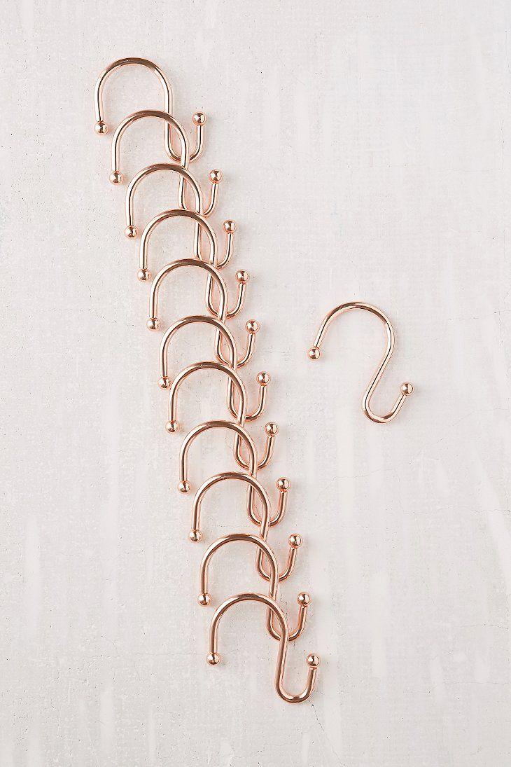 Copper Shower Curtain Hooks Rose Gold Shower Curtain Shower Curtain Hooks Curtain Hooks