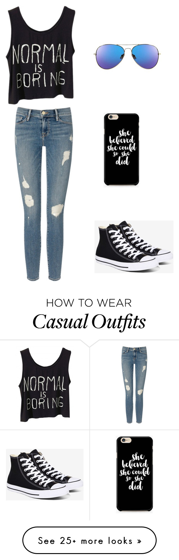 """""""Dark casual spring"""" by montanacat on Polyvore featuring Frame Denim and Converse"""