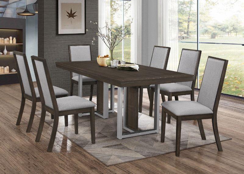 Casa Blanca 7 Pc Lorence Weathered Grey Finish Wood Dining Table Set Dining Table Wood Dining Table Table