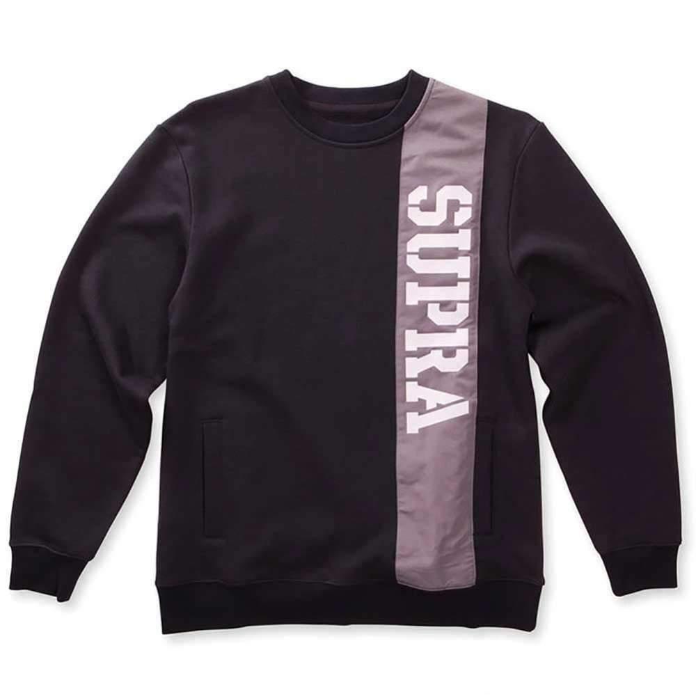 Supra Spar Crew Neck Sweater In Black Mens Sweatshirts Crew Neck Sweater Hoodie Fashion [ 1000 x 1000 Pixel ]