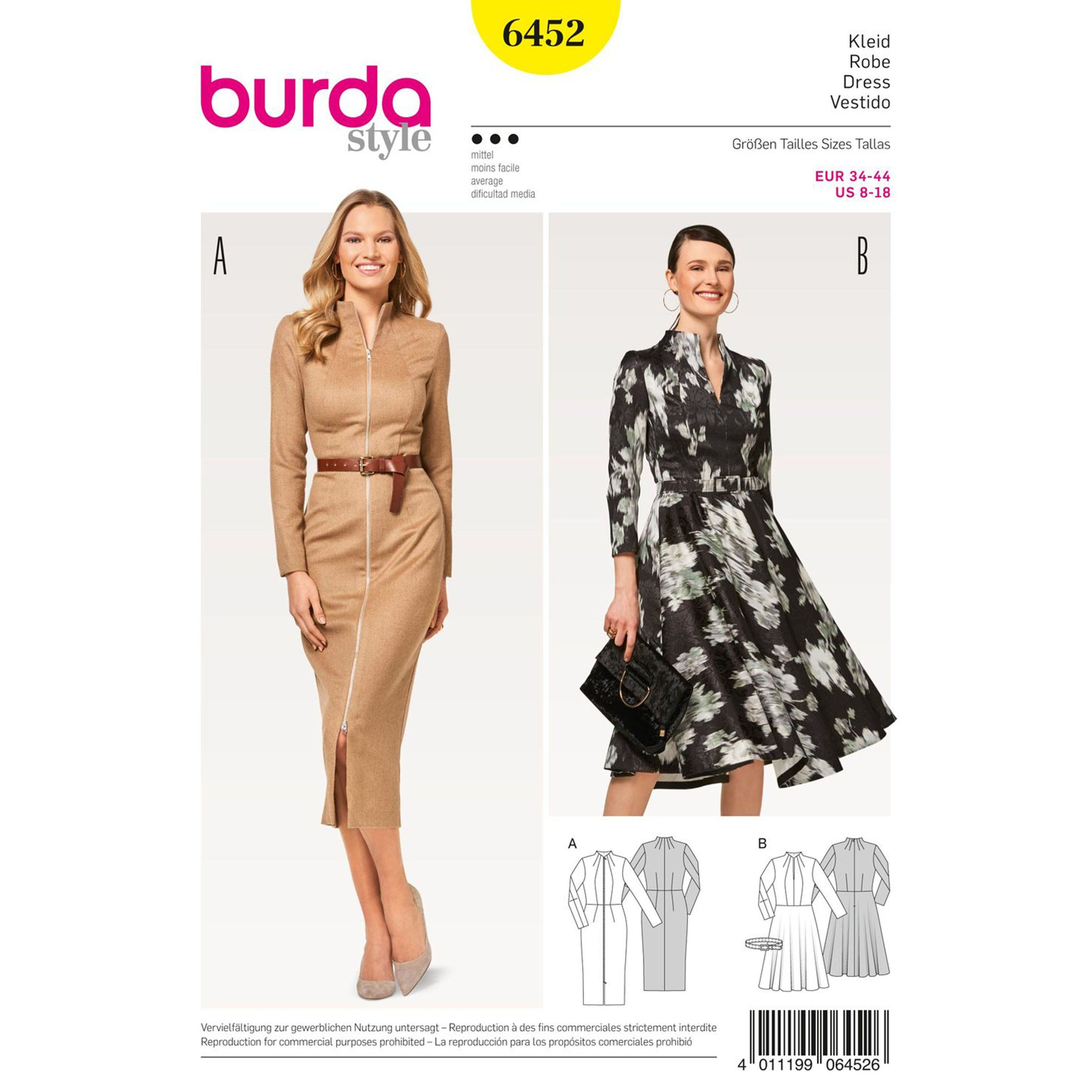 Two great Misses' dresses with attractive seams to cut a good figure. Both styles feature a high, shaped collar and narrow sleeves in two lengths. Find this Burda Style sewing pattern at Simplicity.com. #mittellangeröcke