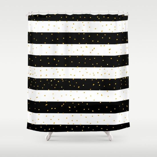 Black White Gold Faux Glitter Stripes Polka Dots Shower Curtain By Pink Water