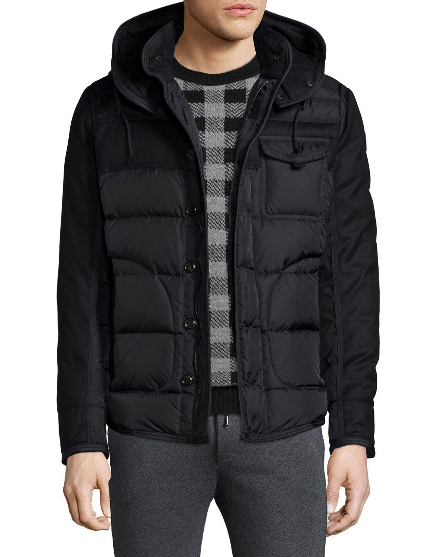 cd817bacc Ryan Nylon & Wool Hooded Puffer Jacket Black | *Outerwear > Coats ...