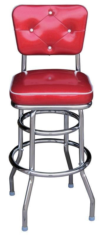 Retro Style Chrome Bar Stool With Decorative Tufted Backrest We Can Build In Any Color