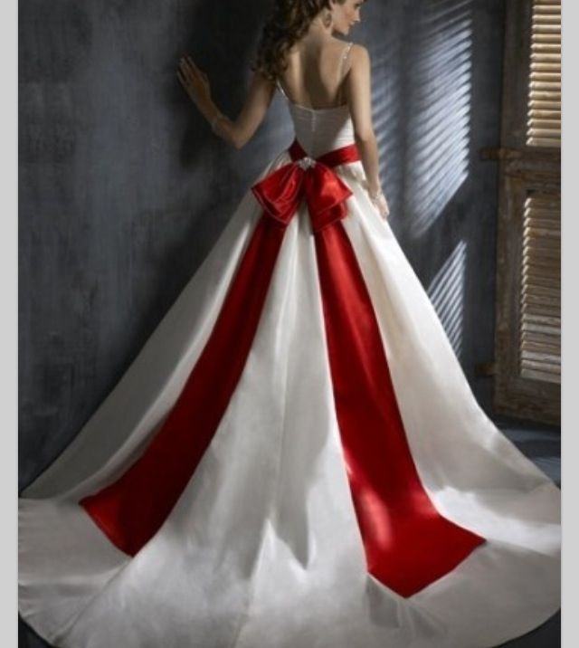 Beautiful long white wedding dress with red accent bow on back ...