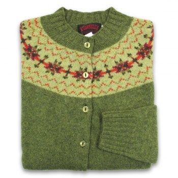 Women's Scottish Shetland Wool Fair Isle Cardigan Sweater