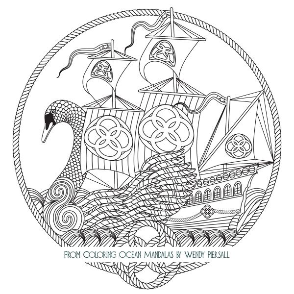 celtic swan boat from coloring ocean mandalas