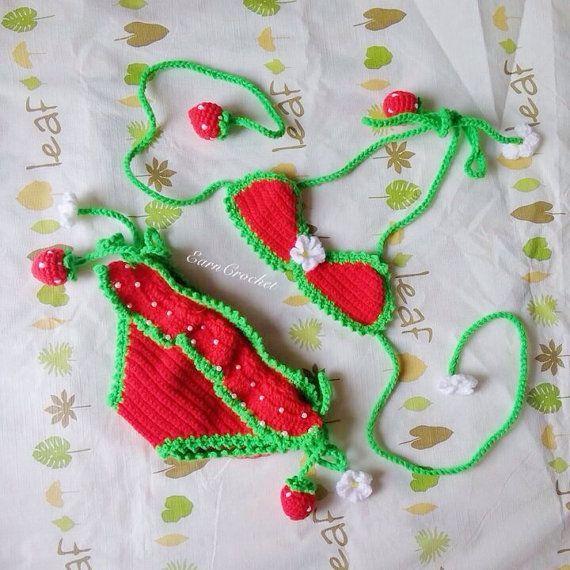 Strawberry beach bikiniCrochet baby von EarnCrochet auf Etsy   - Projects to Try - #auf #Baby #Beach...