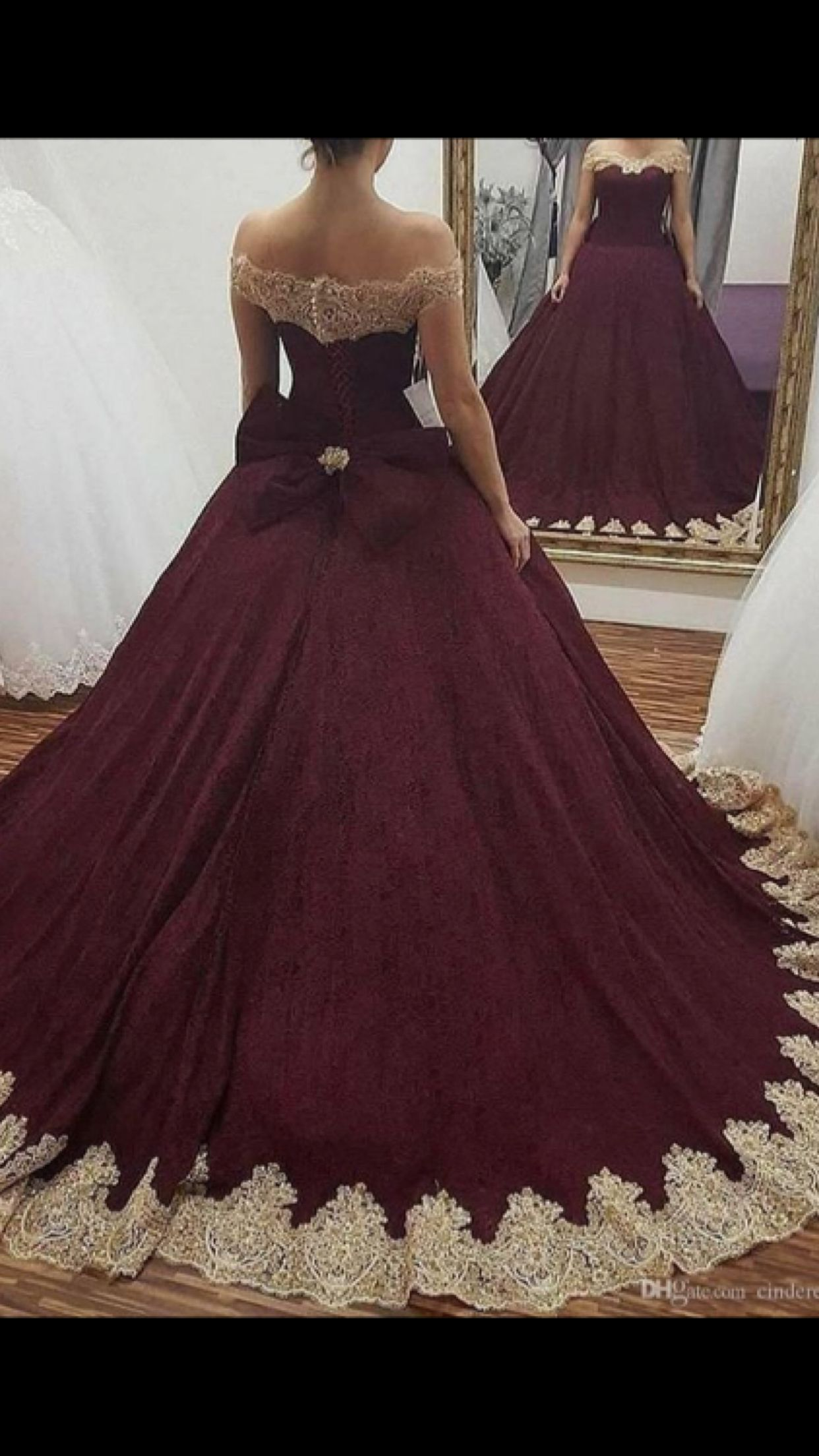 Burgundy Off the Shoulder Ball Gown Quinceanera Dresses 2018 Gold Lace  Appliqued Sweet 16 Prom Dresses Back With Bowknot 49b7c6b39