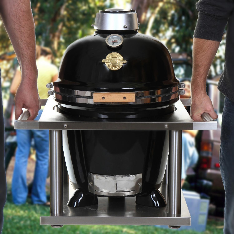 Grill Dome Infinity Series Small Black Kamado Grill With Kamagater Bbqguys Kamado Grill Kamado Kamado Joe Table