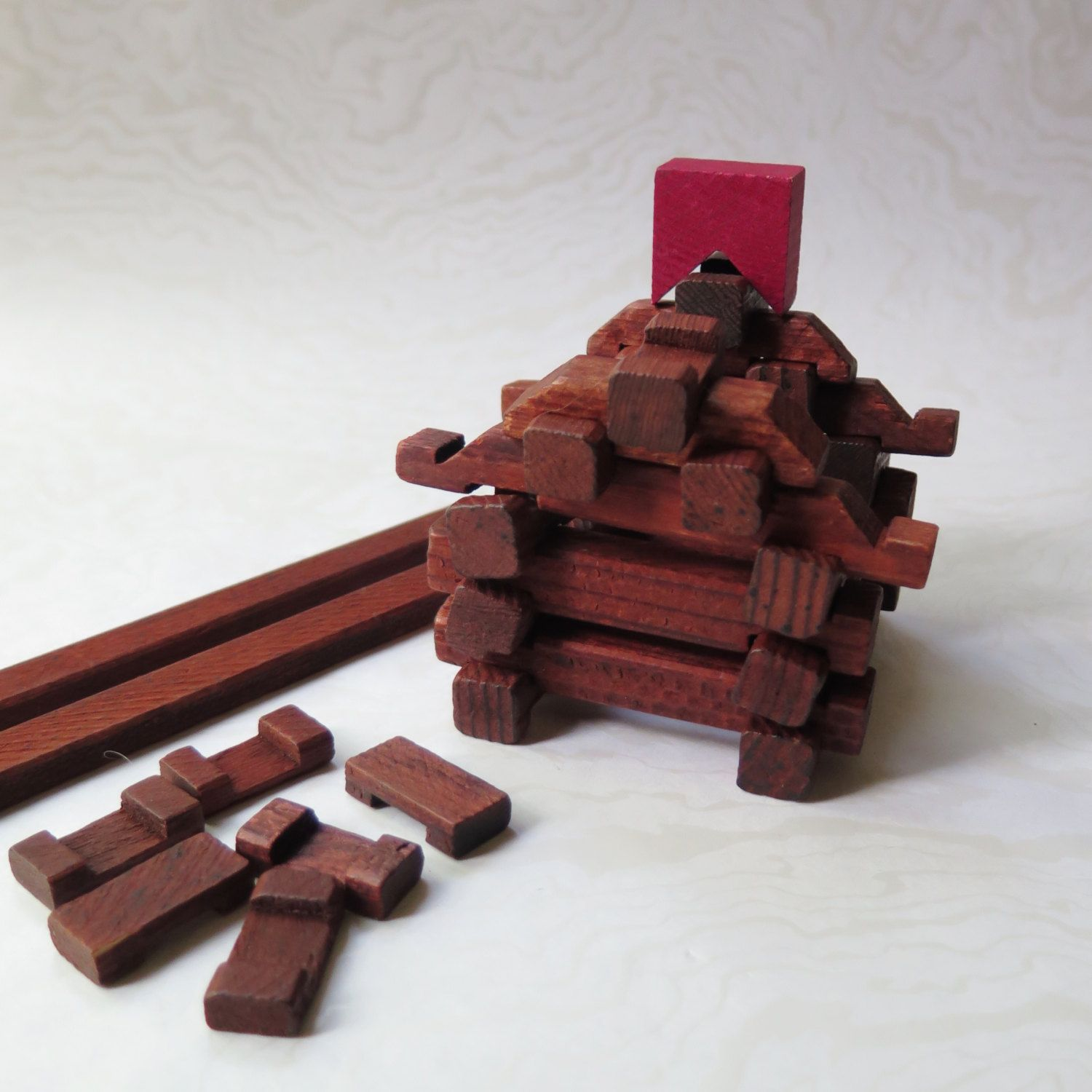 Miniature Lincoln Logs Wooden Timber Toys Square End 1950s