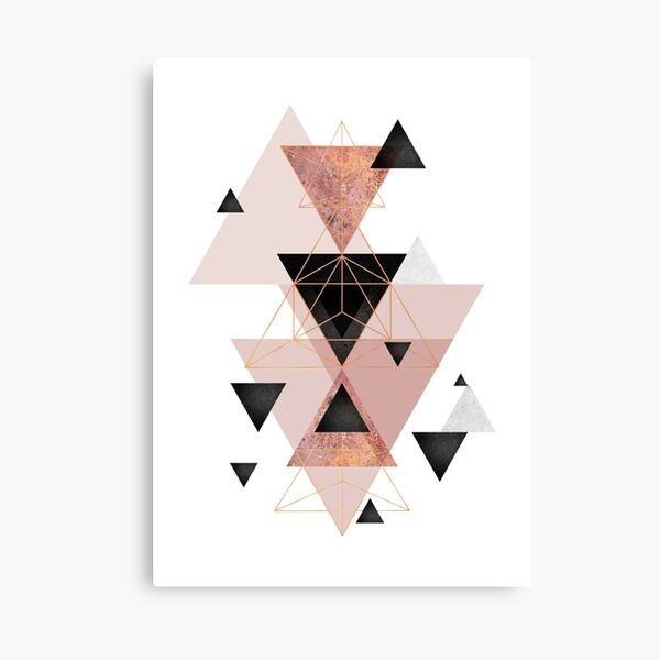 Geometric Triangles in blush and rose gold Canvas Print