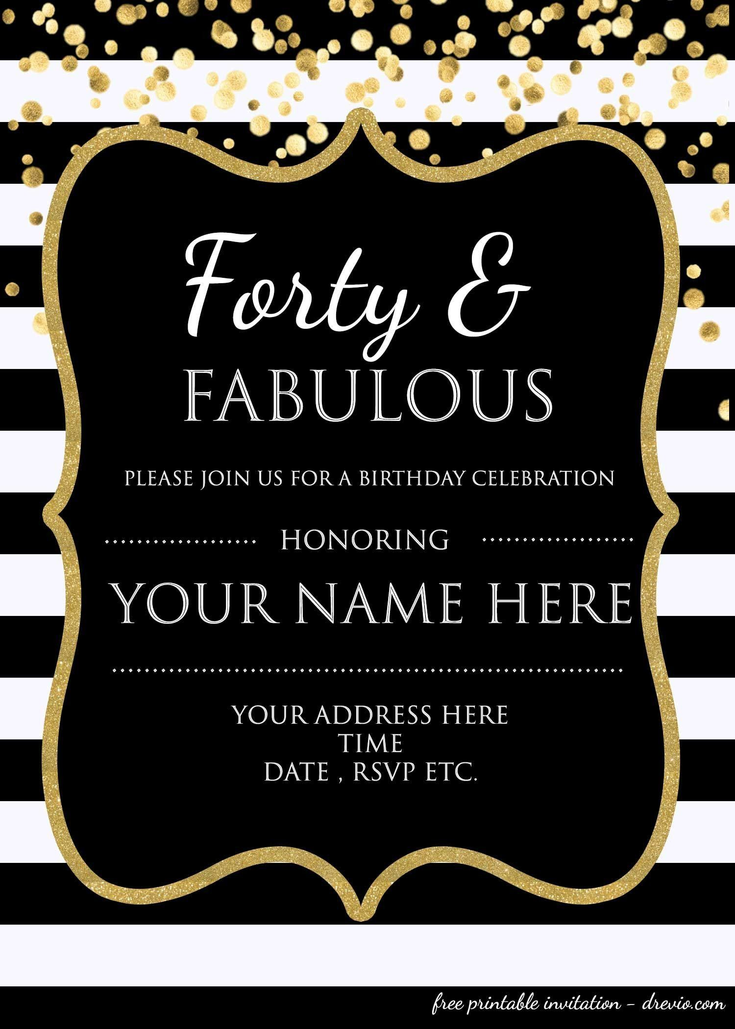 Surprise 4th Birthday Invitations forty & Fabulous 4th Birthday