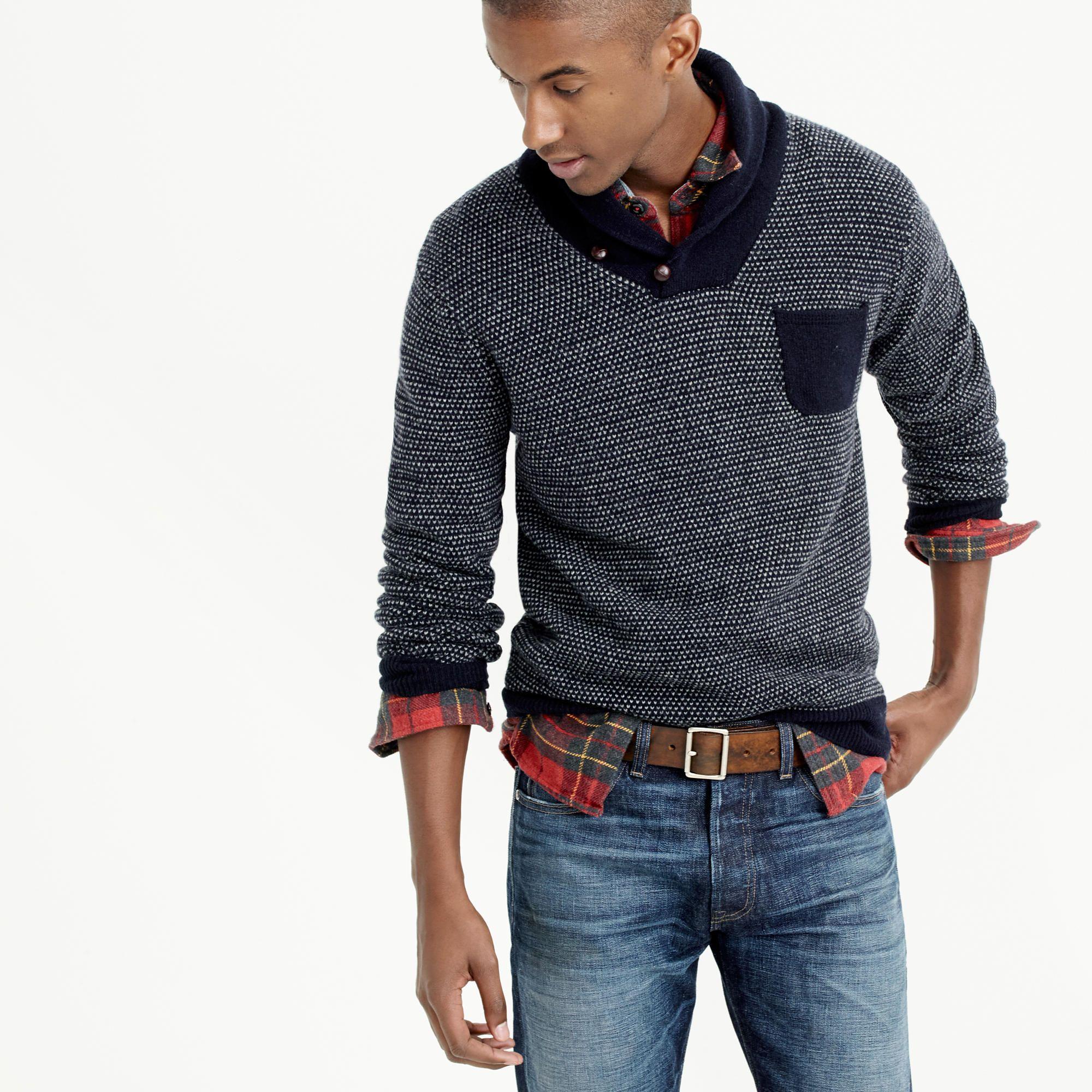 9c8502e8bc7 Lambswool jacquard shawl-collar sweater   sweaters