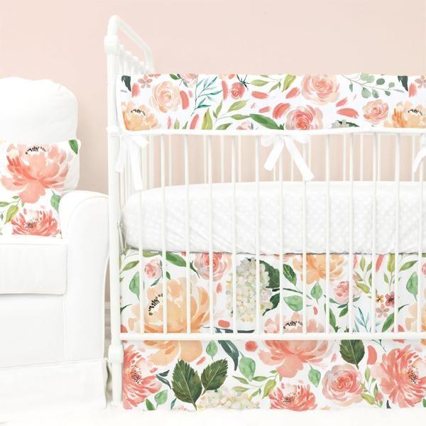 Peach And Coral Watercolor Floral Garden Bumperless Crib Bedding