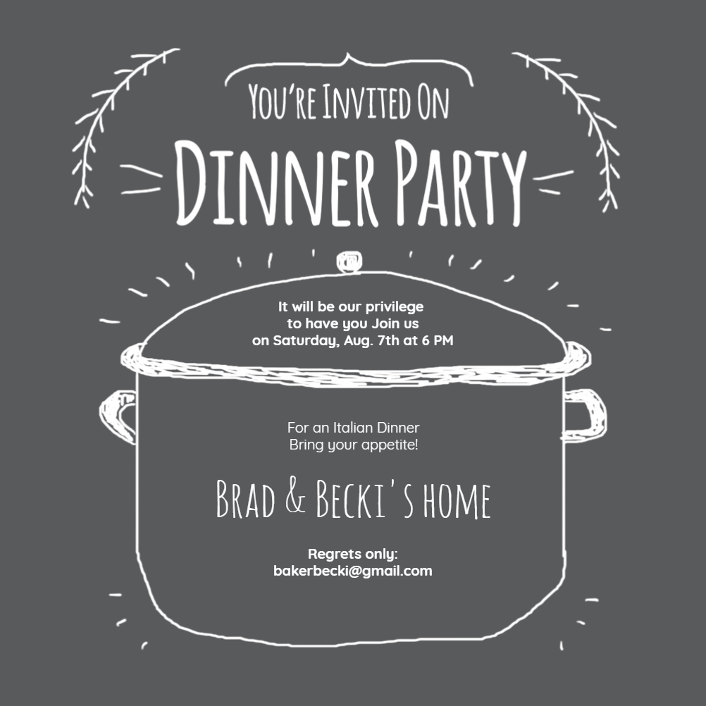 Free Dinner Invitations Chalkboard Pot Invitation Templatecustomize Add Text And Photos .