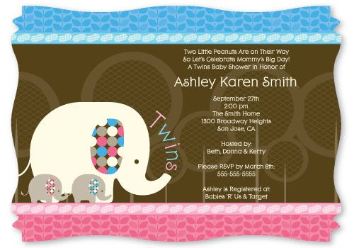 Twin Baby Elephants 1 Blue 1 Pink Personalized Baby Shower