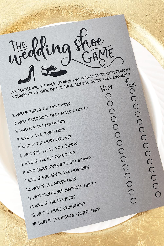 Grey Wedding Shoe Bridal Shower Game. Wedding Shoe Game