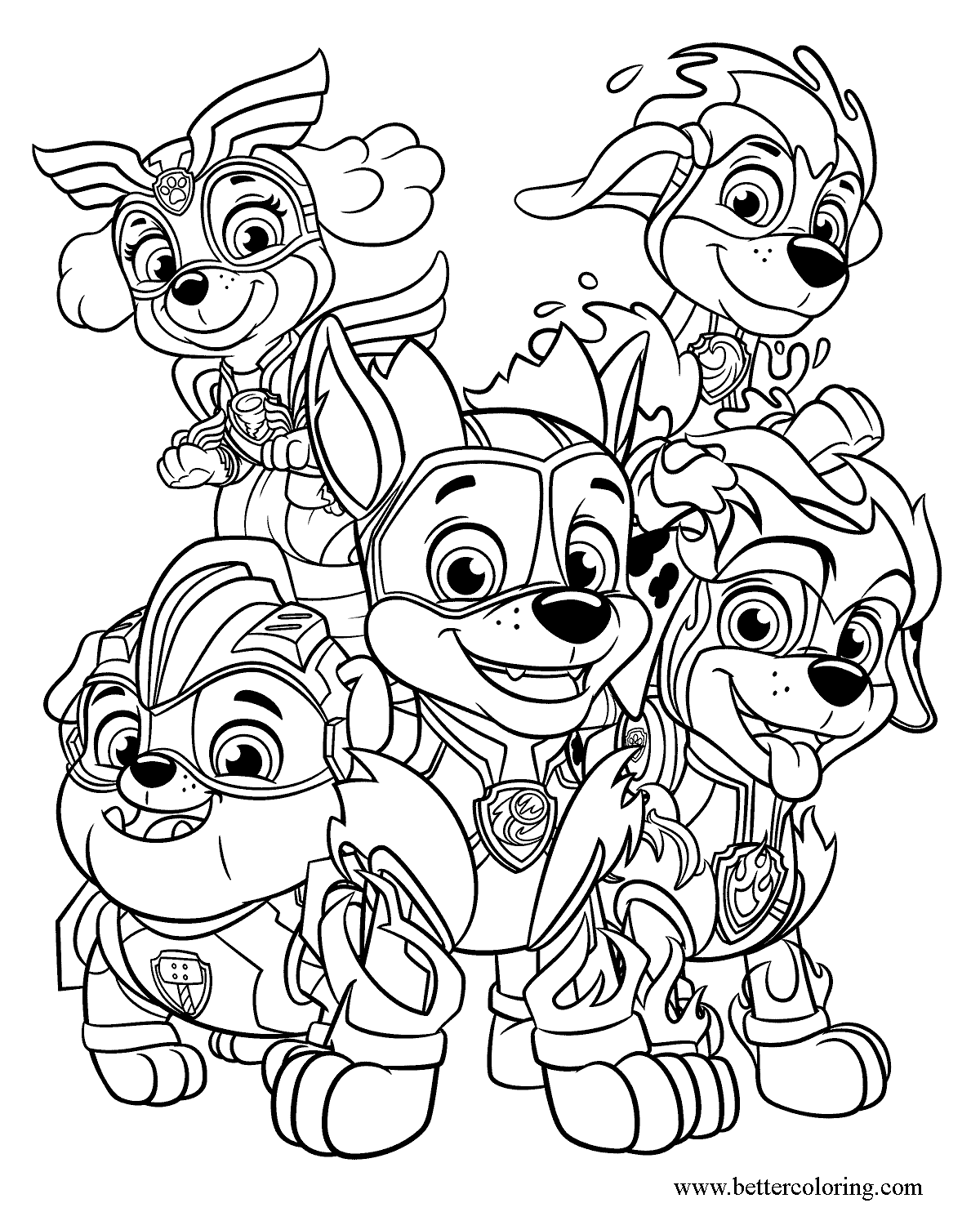 Mighty Pups Coloring Page