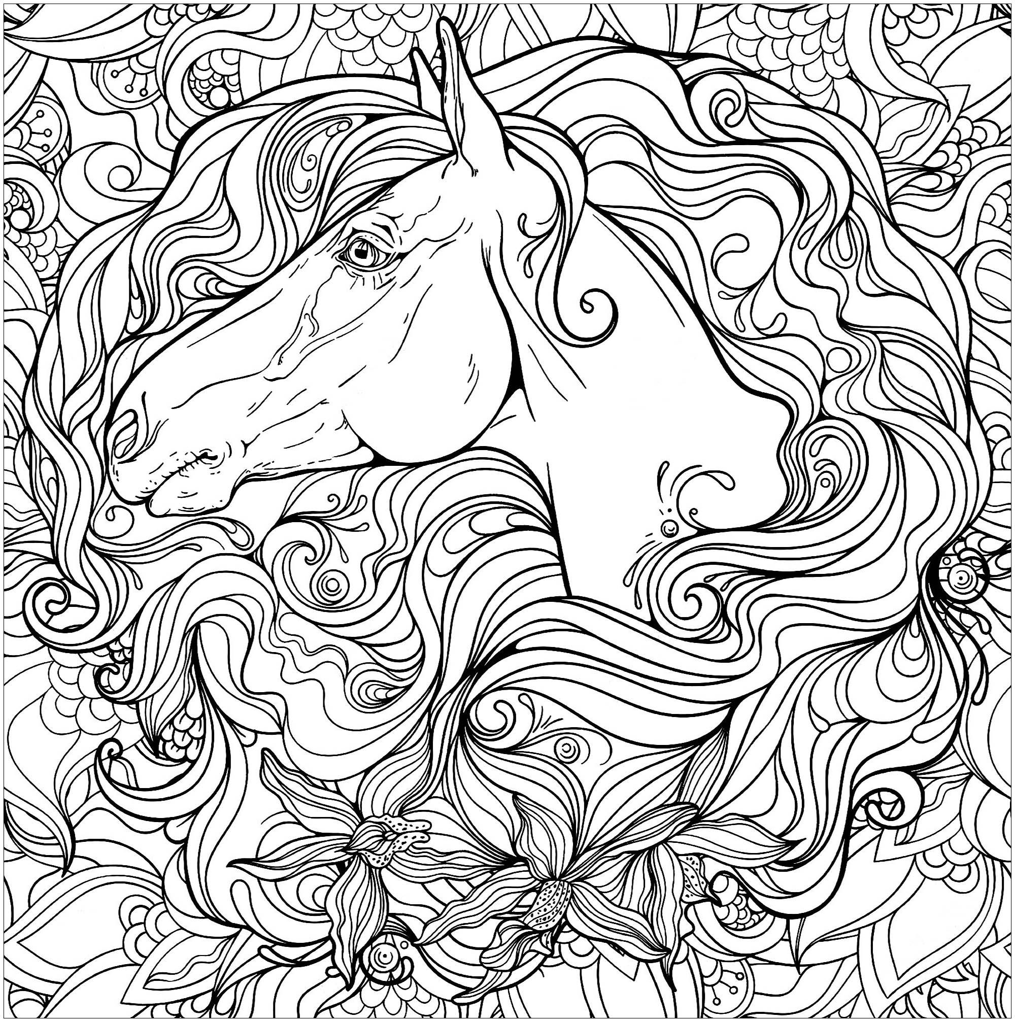 Horse In Flowers Horses Coloring Pages For Adults Just Color