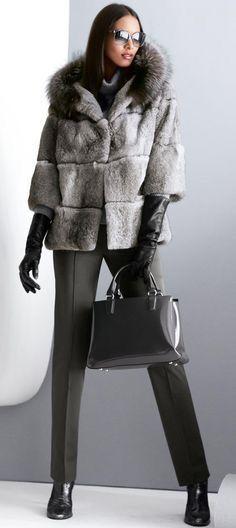 Shearling and Fox Fur Hooded Jacket | Fur Fashion | Pinterest
