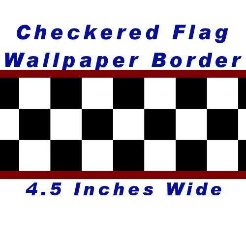 Checkered Flag Cars Nascar Wallpaper Border 4.5 Inch