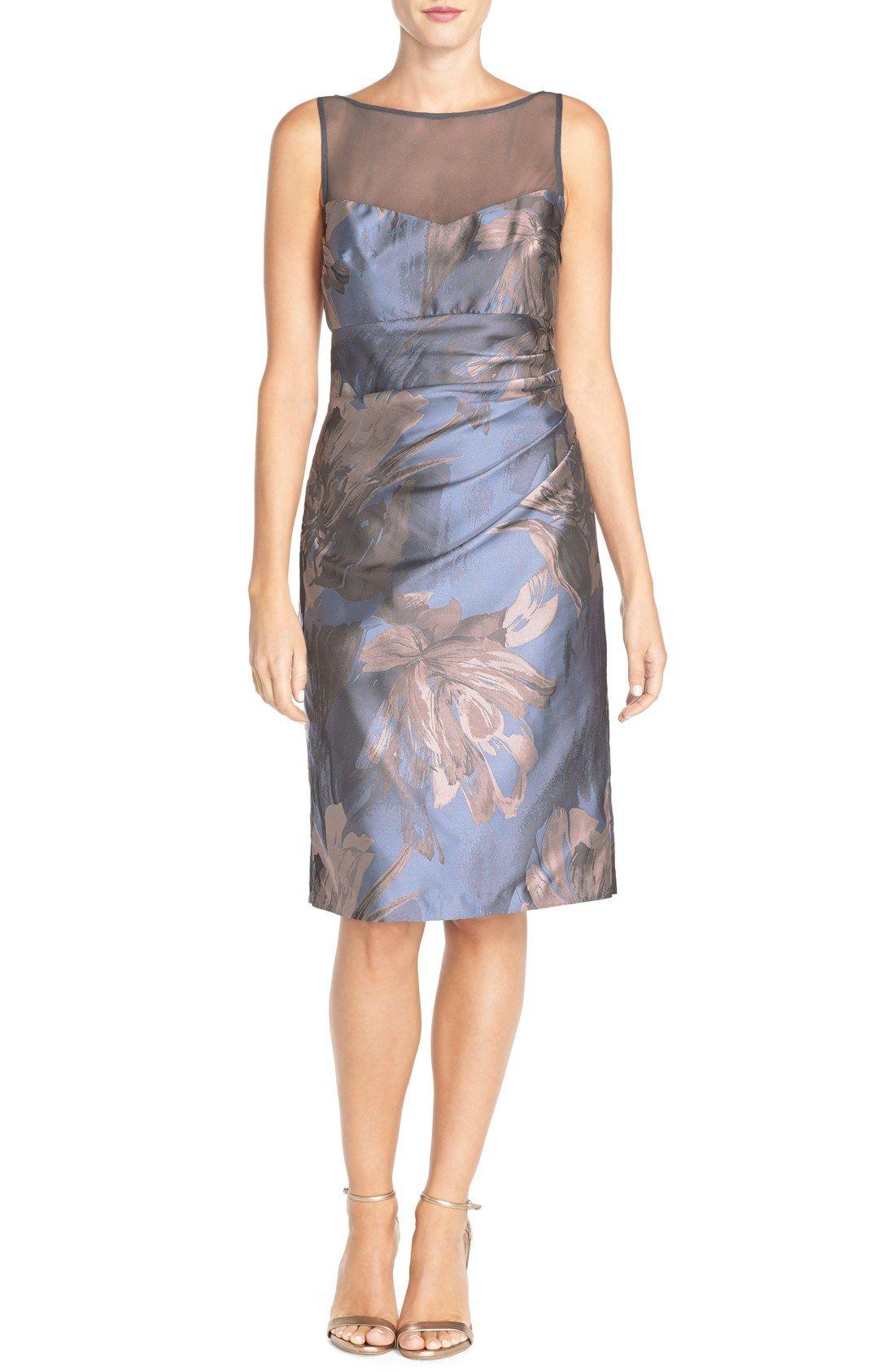 Petite dresses with sleeves for weddings  Maggy London uSplashu Floral Jacquard Sheath Dress Regular u Petite