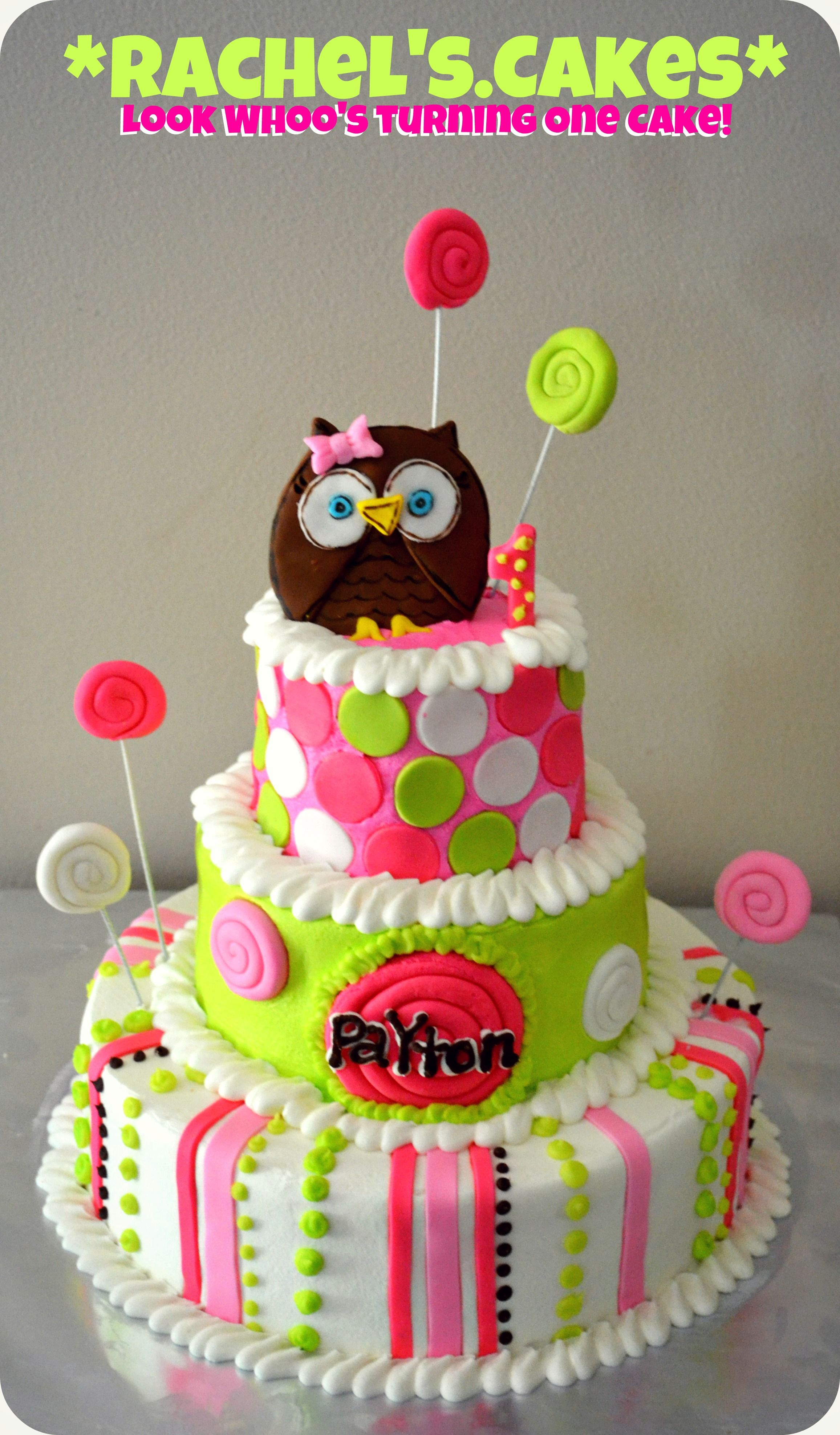 Owl Cake for a girl Whoos turning 1 My Own Cakes Pinterest