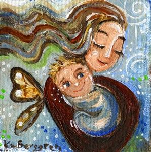 Free Heart - mother blonde baby butterfly print by Katie m. Berggren