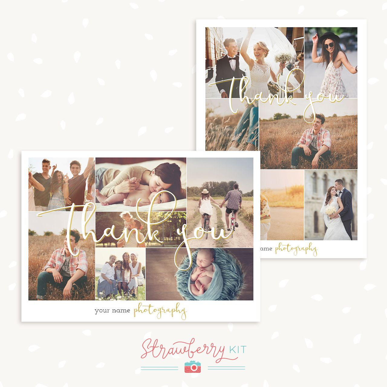 Thank You Card Collage End Of Year Photo Card Template Thank You Card Template Photography Templates