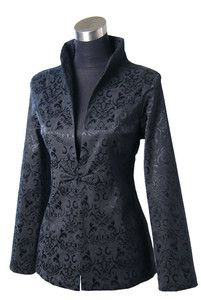 black purple green Chinese silk Women's evening Jacket ...