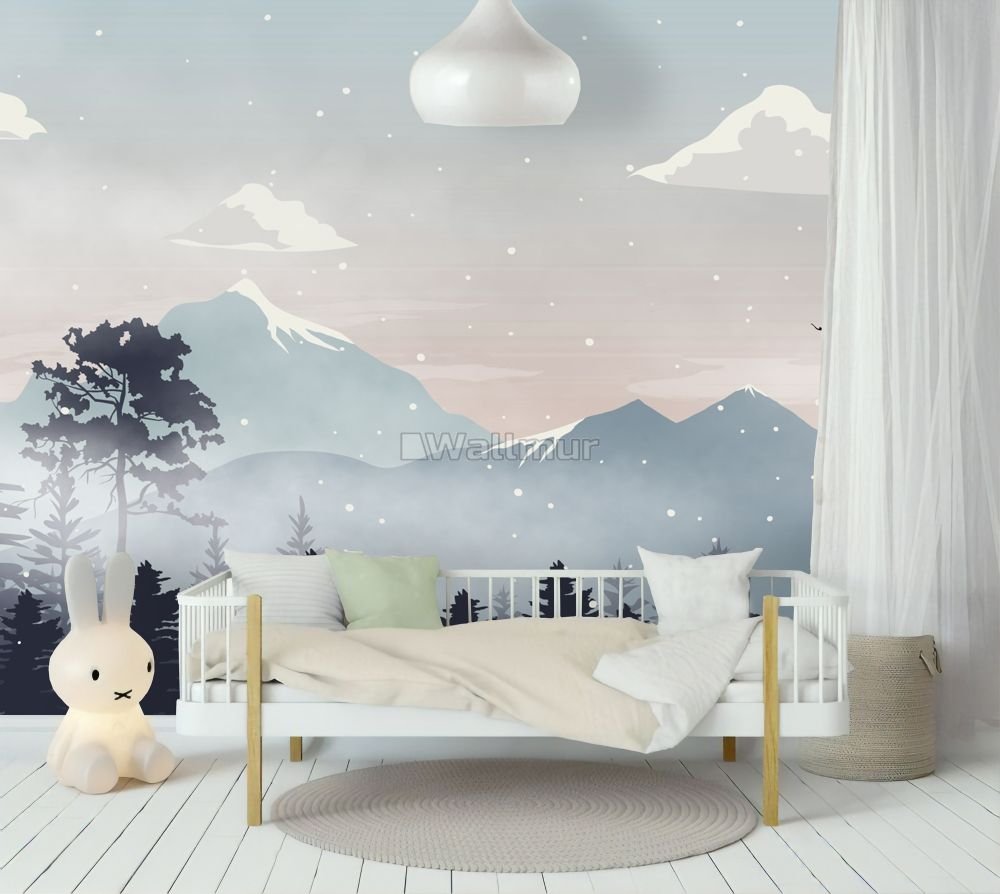 Kids Mountain Landscape With Snow Wallpaper Mural In 2020 Kids Wall Murals Kids Room Murals Kids Wallpaper