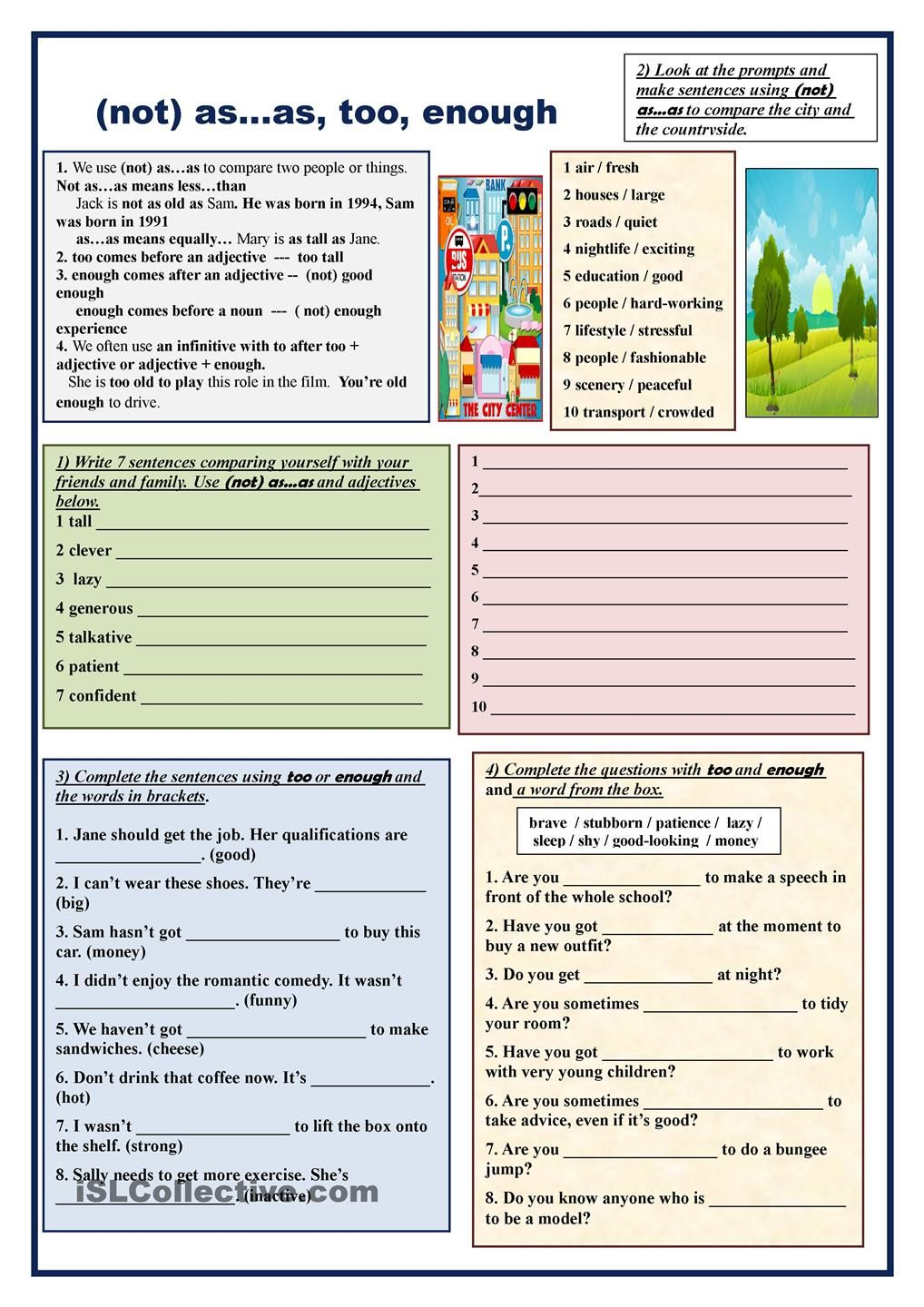 Comparisons Not As As Too Enough English Worksheets For Kids Grammar English Grammar Worksheets [ 1440 x 1018 Pixel ]