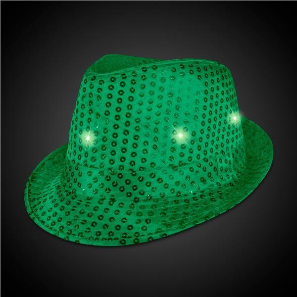 LED Light Up Dark Green Sequin Fedora Hat  2210cdb39c00