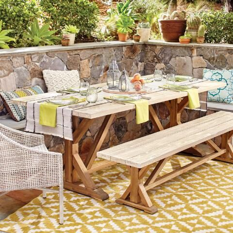 Two Tone Wood San Remo Outdoor Trestle Dining Table Outdoor