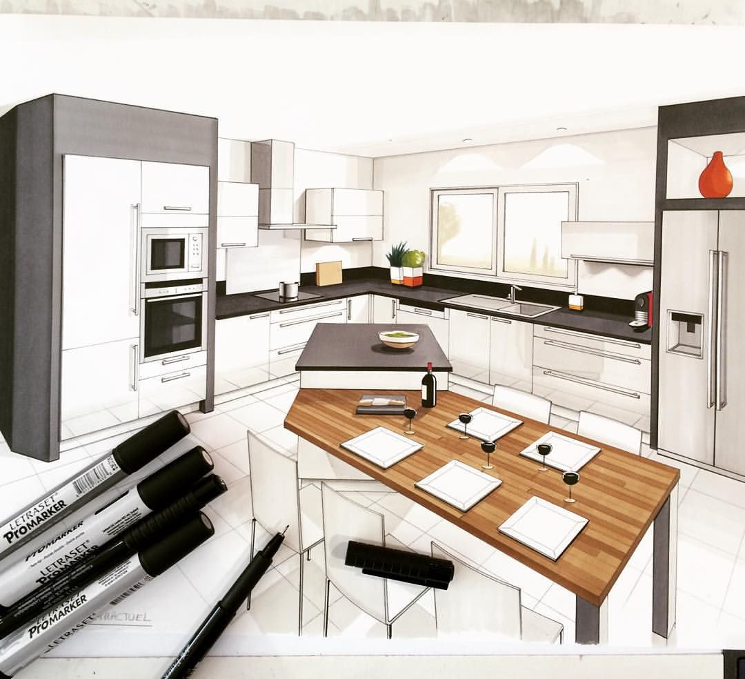 Design D'intérieur Dess Draw Drawing Handmade Arch More Arch Sketch Kitchen