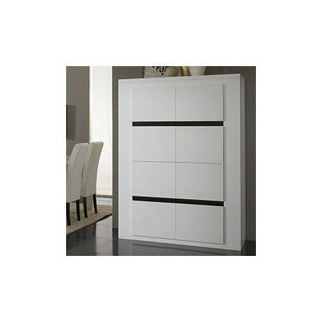 Buffet vaisselier noir et blanc laqué design 4 portes | Buffet ...