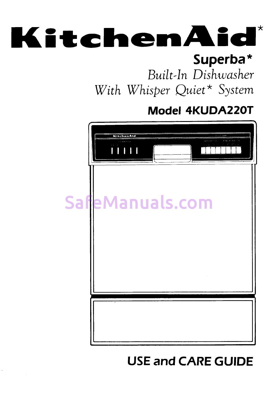 Kitchenaid 4kuda22ot User Manual Kitchen Aid User Manual Built In Dishwasher