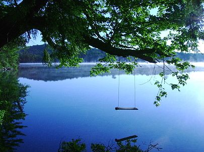 Swinging over the lake very peaceful yet perfect for Swing over water