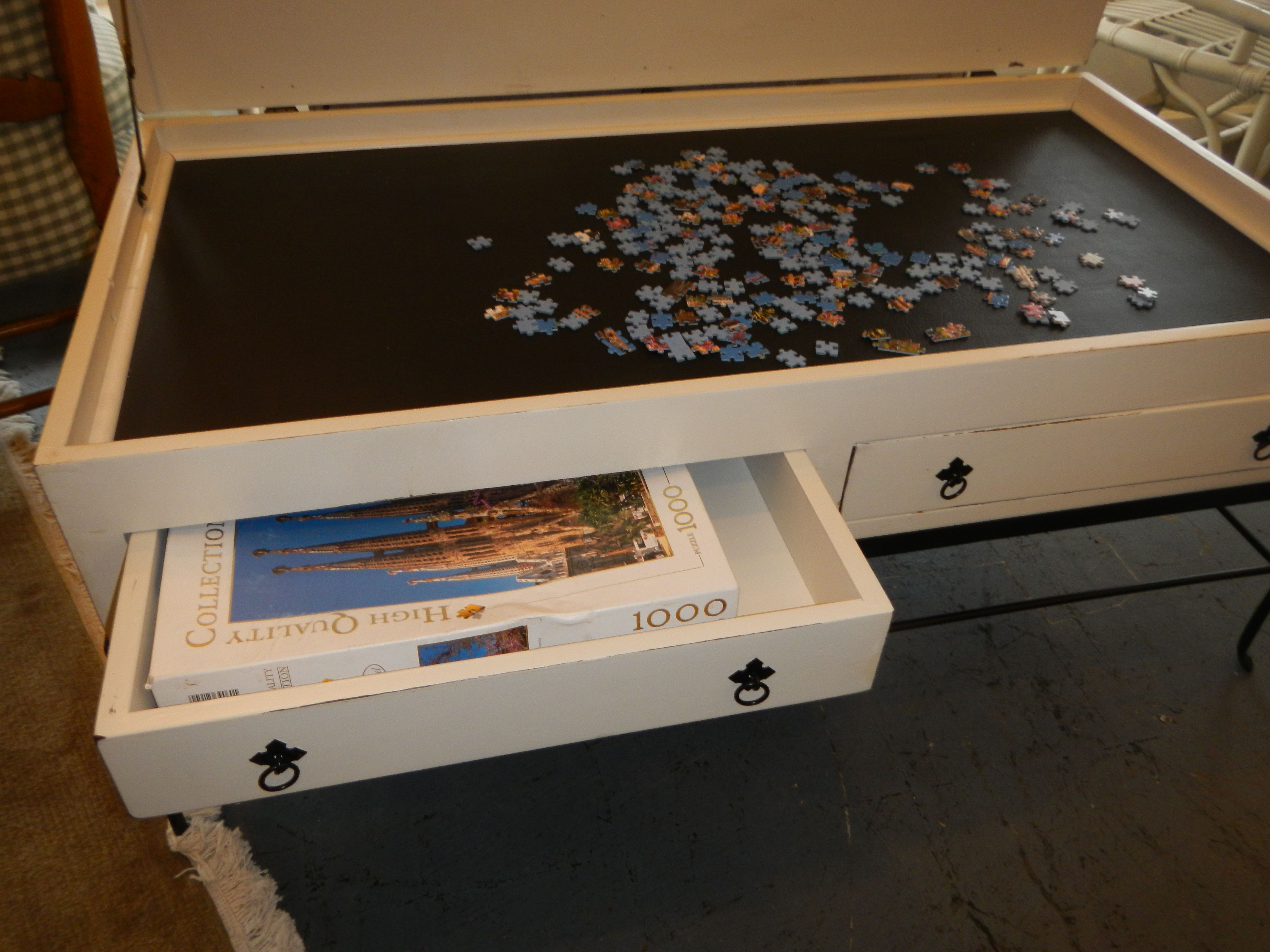 This Table Was Upcycled With A Leather Like Lining.great For The Puzzle  Fanatic. Close The Top And It Is Back To Being A Coffee Table