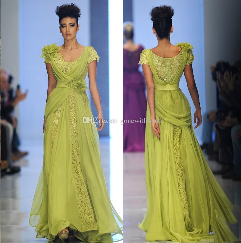 2017 yellow evening dresses short sleeves lace with silk handmade ...