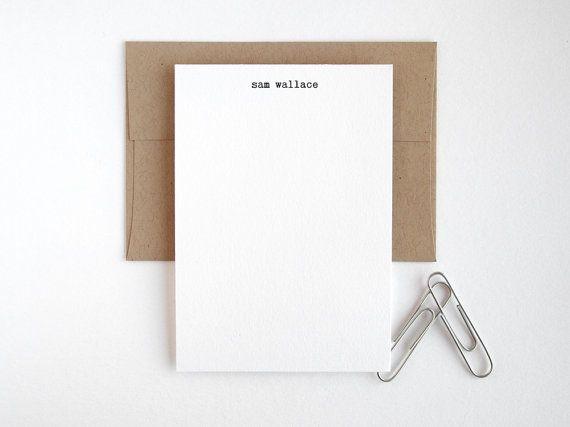 Mini Letterpress Note Cards - Typewriter Personalized Flat Stationery - Editor Petit